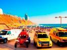 """רכבי הצלה של מד""""א בחוף סירונית. צילום אסף ברזינגר"""