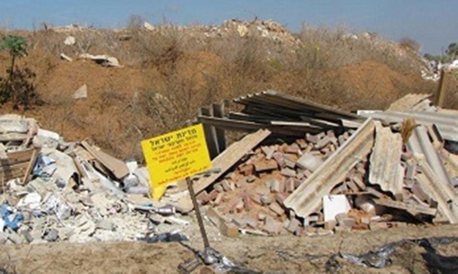 נתניה: פונה מצבור פסולת בלתי חוקית
