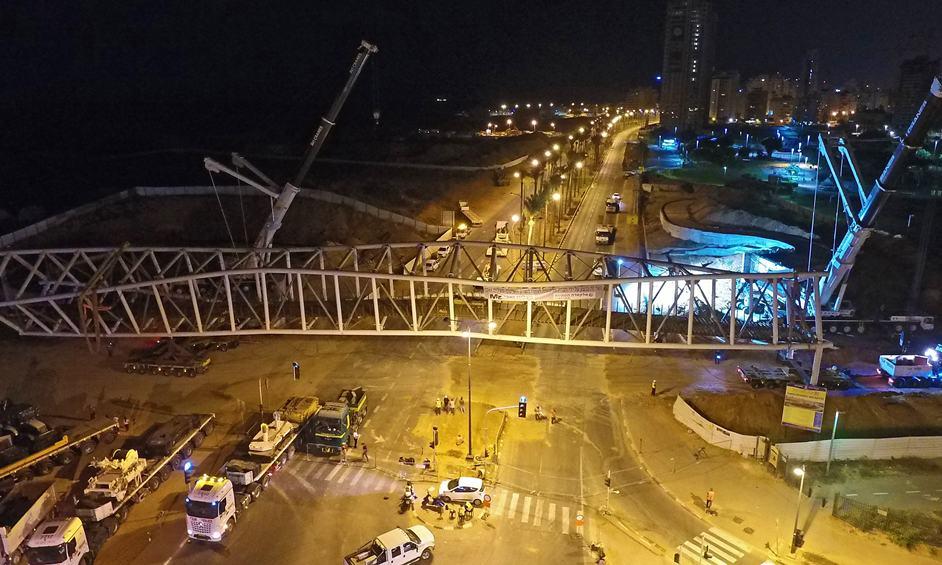 נתניה: במבצע הנדסי מורכב הונף  גשר השמורות
